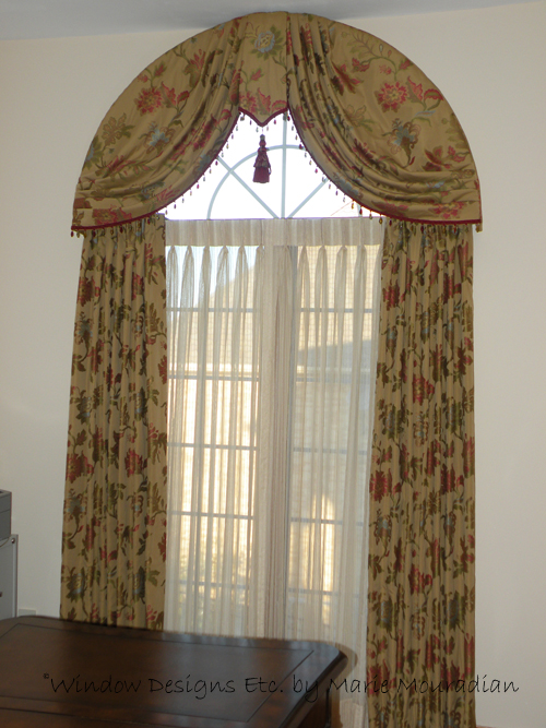 elegant arched window treatment swags and drapes. Black Bedroom Furniture Sets. Home Design Ideas