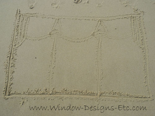 Sketch in the sand of a window treatment valance. Interior Design inspiration at the beach for a Cape Cod home. See more at www.windowdesignsetc.com by Marie Mouradian