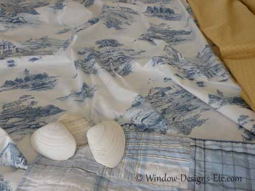 Fabrics and shells for Cape bedroom