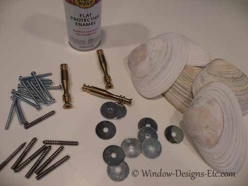 Materials for shell window treatments. Shells and hardware. Window Designs Etc. by Marie Mouradian www.windowdesignsetc.com