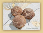 Fabric and Food- French Donut Muffins on Fabricut embroidered linen