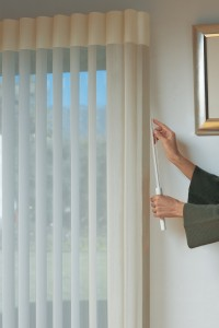 Hunter Douglas Luminette® Privacy Sheers with wand/cord control. Visit www.WindowDesignsEtc.com for details
