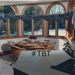 TBT Northborough Massachusetts bay window treated with draped or throw swags wrapped around a fabric shirred PVC pole Circa 1989