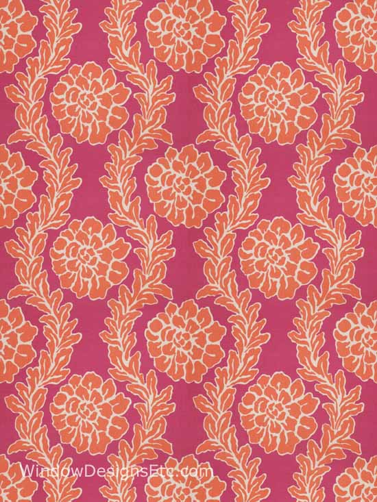 Dana Gibson collection for Stroheim. Pattern Peony Color Pink Persimmon. Please visit WindowDesignsEtc.com for more information.