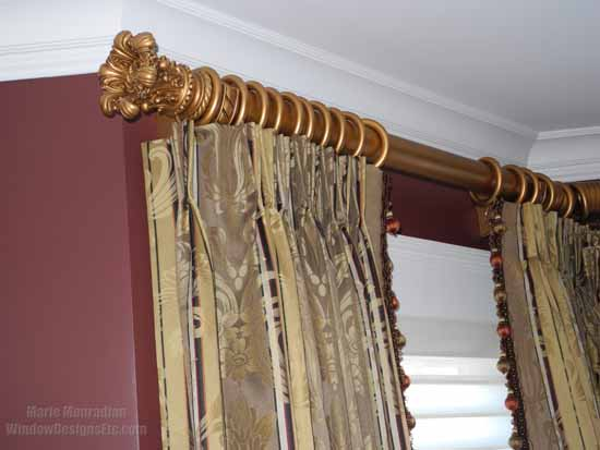 Marsala walls were the ideal selection for this re-purposed formal living room - A wine tasting room!. The gold and taupe of the custom draperies pair well with Marsala. - Marie Mouradian WindowDesignsEtc.com - Marsala, Pantone 2015 Color of the Year