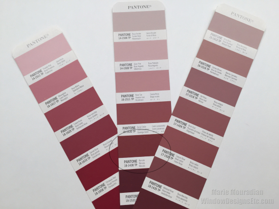 Pantone color deck with Marsala circled.- Marie Mouradian WindowDesignsEtc.com - Marsala, Pantone 2015 Color of the Year