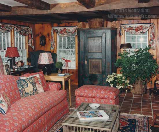 Timeless design in this room I did about 20 years ago. Rustic New England style with rich woods, terracotta flooring, antiques and custom window treatments. - Marie Mouradian WindowDesignsEtc.com - Marsala, Pantone 2015 Color of the Year