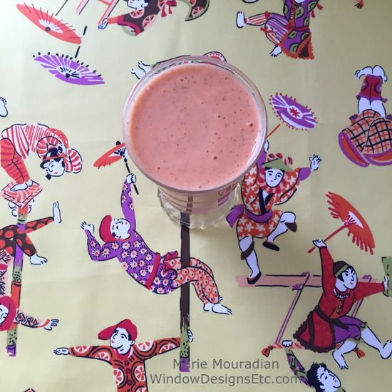 Fabric and food - Pineapple carrot smoothie on Duralee circus fabric in summer. more on the blog WindowDesignsEtc.com