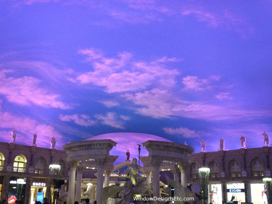 Pink and Blue painted sky at the Venetian in Las Vegas. See more at WindowDesignsEtc.com