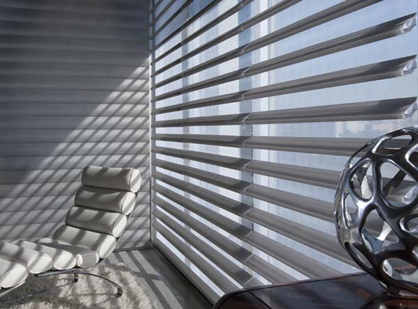 Hunter Douglas Pirouette® Window Shadings. Modern, sleek, dramatic and light-diffusing. Design with light! Available to the Worcester, MA area through Window Designs Etc. by Marie Mouradian