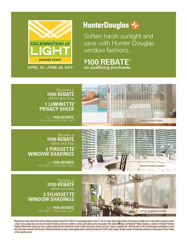 Hunter Douglas Current Promotion Celebration of Light now thru June 26, 2017 receive $100 rebates on Luminette®, Pirouette®, and Silhouette® window shadings. See detailed information at WindowDesignsEtc.com Blinds and shades Worcester Massachusetts