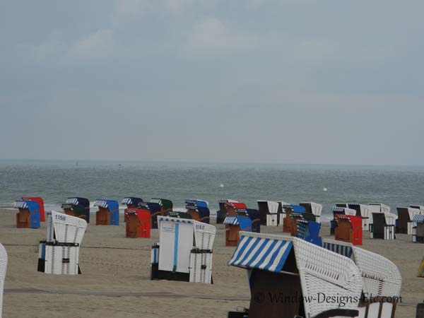 Beach baskets in Warnemunde Germany with awnings
