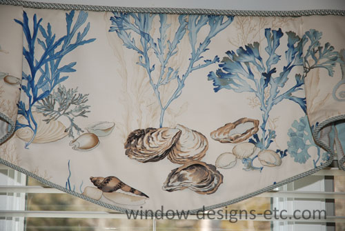 Close up of the beach themed valance.