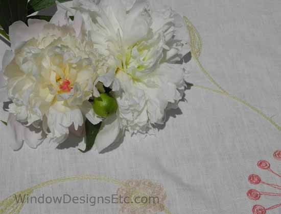 White peonies on a Fabricut fabric. Please visit WindowDesignsEtc.com for more information.