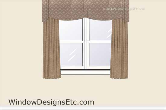 Design rendering of a custom window treatment with draperies and a scaloped valance with a center jabot and cascades at the sides. See more on WindowDesignsEtc.com