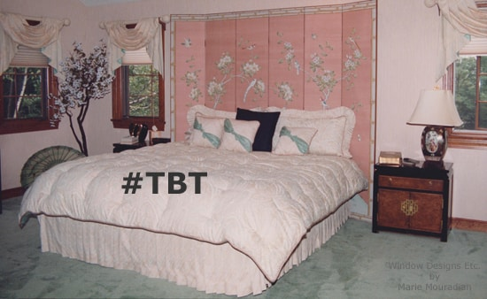 #TBT in interior design. Peach and green bedroom from the 80's More on blog Window Designs Etc. by Marie Mouradian