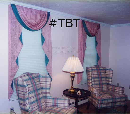 TBT Throwback Thursday Holden Massachusetts classic pink and green swags and cascades compliment plaid chairs circa 1996. Please visit WindowDesignsEtc.com for more info.