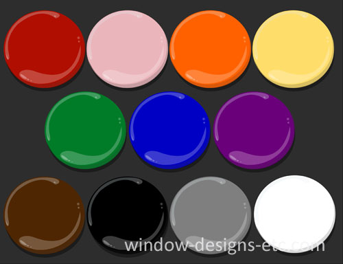Color psychology paint dots from the emotions of color by Window Designs Etc. by Marie Mouradian www.windowdesignsetc.com