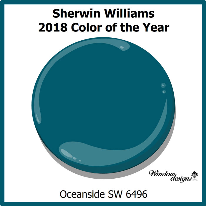 Sherwin Williams Oceanside 2018 color of the year SW 9496 Read more about Oceanside on the blog Windowdesignsetc.com