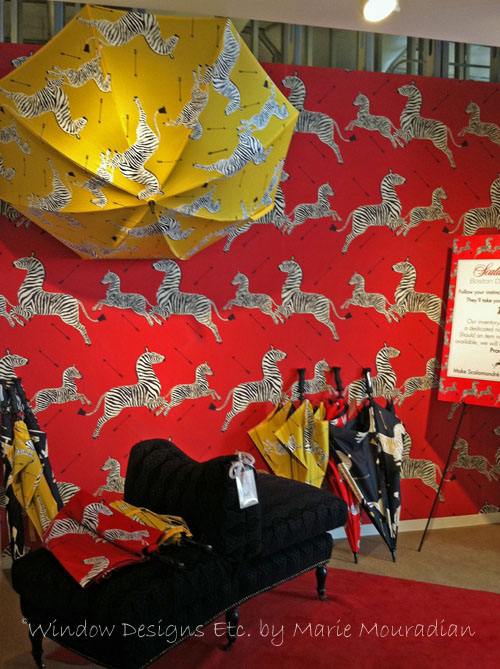 Scalamandré Wallpaper And Umbrellas At The Boston Design Center Showroom.  Zebras On Red And Yellow
