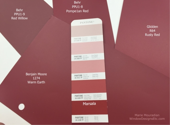 Marsala Pantone 2015 Color of the year Close matches of some commercial paint companies to Pantone Marsala. Benjamin Moore - warm earth, Glidden - Rusty red, Behr - Pompeian Red - Marie Mouradian WindowDesignsEtc.com - Marsala, Pantone 2015 Color of the Year