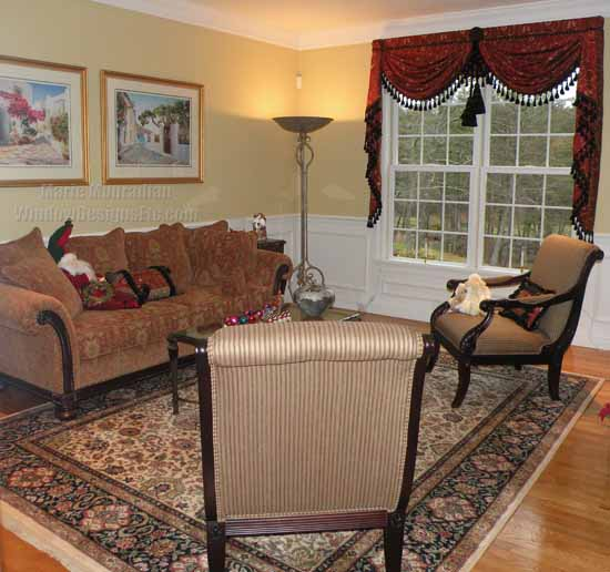Hints of Marsala Pantone 2015 Color of the year in the sofa and carpet are brought to the window in embroidered silk swags and cascades. - Marie Mouradian WindowDesignsEtc.com - Marsala, Pantone 2015 Color of the Year