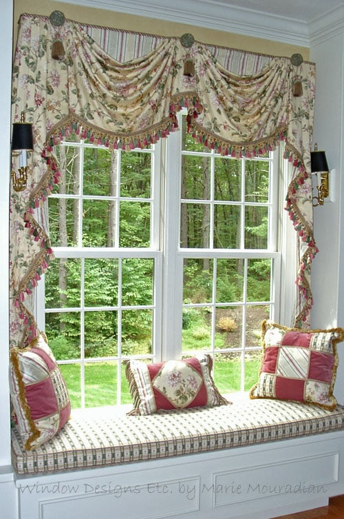 Custom Window Seat Framed With Swags And Cascades Cushion Decorative Pillows